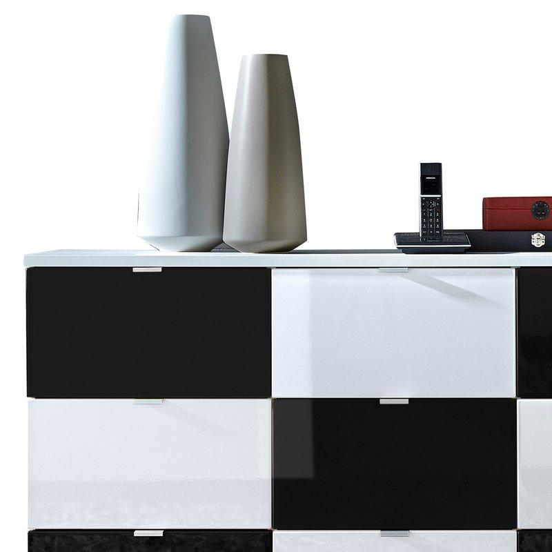 Commode 9 Tiroirs Blanc Et Noir Rani Maison Et Styles