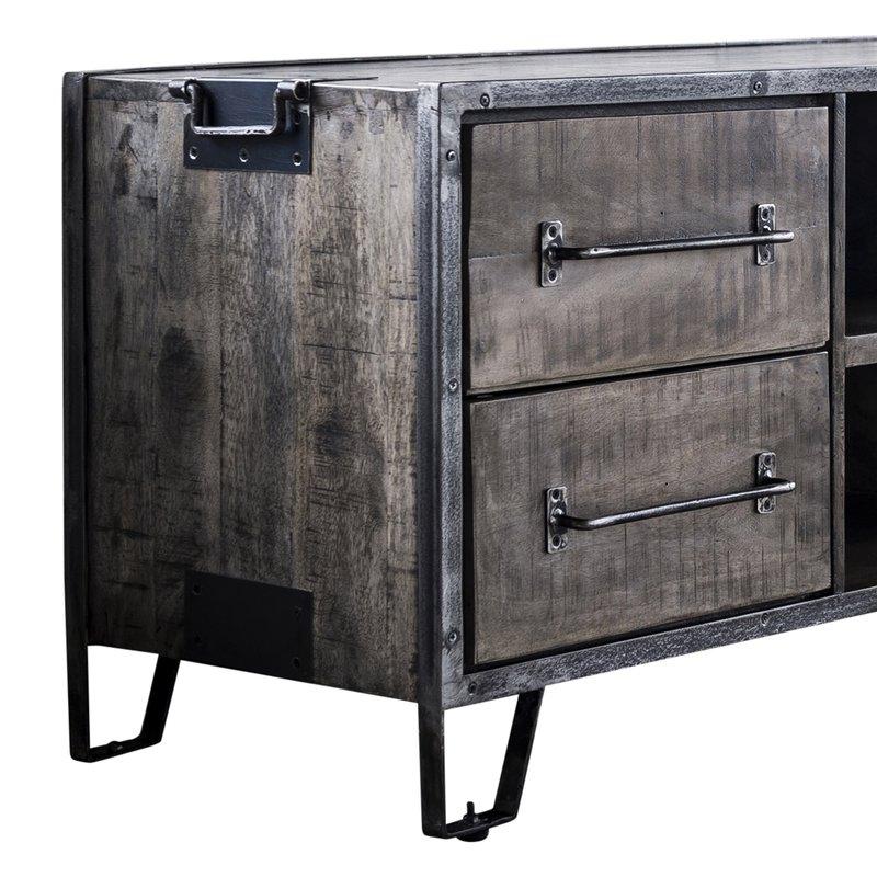meuble tv 4 tiroirs 2 niches 150x46x60cm en manguier et. Black Bedroom Furniture Sets. Home Design Ideas