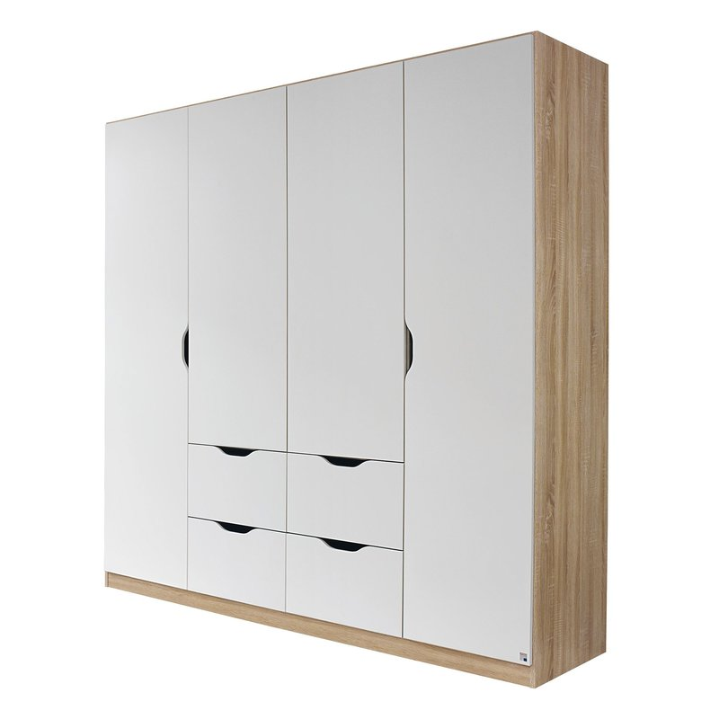 armoire 4 portes 4 tiroirs bois maison et styles. Black Bedroom Furniture Sets. Home Design Ideas