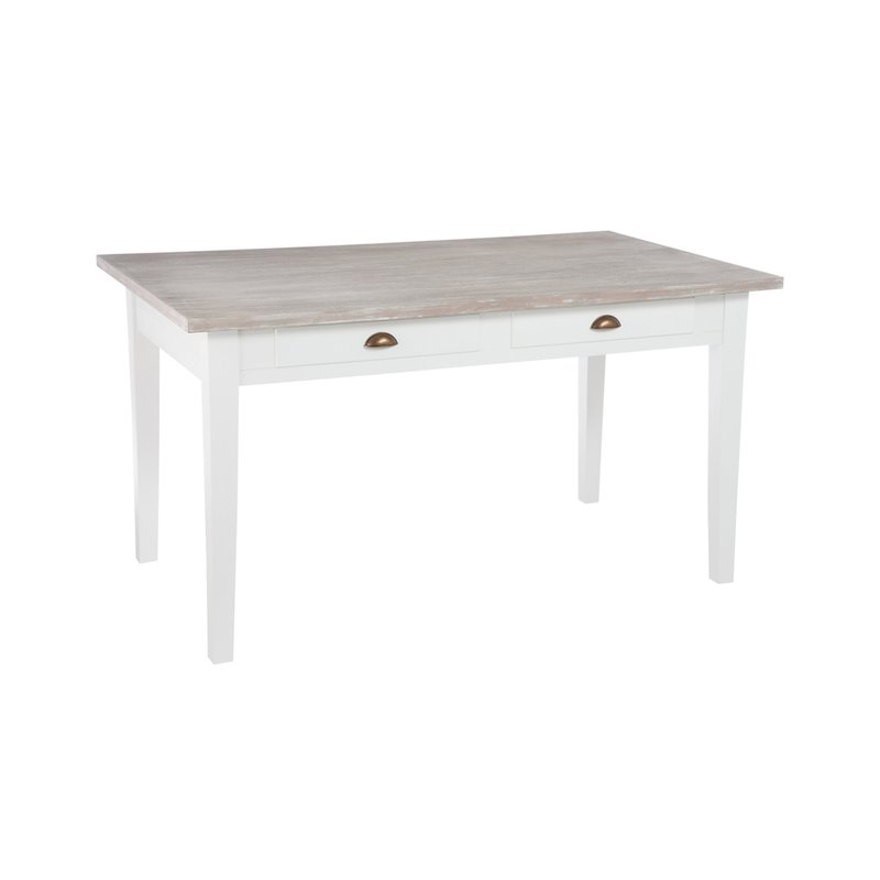 table manger 2 tiroirs 145x85x80cm en bois et blanc maison et styles. Black Bedroom Furniture Sets. Home Design Ideas