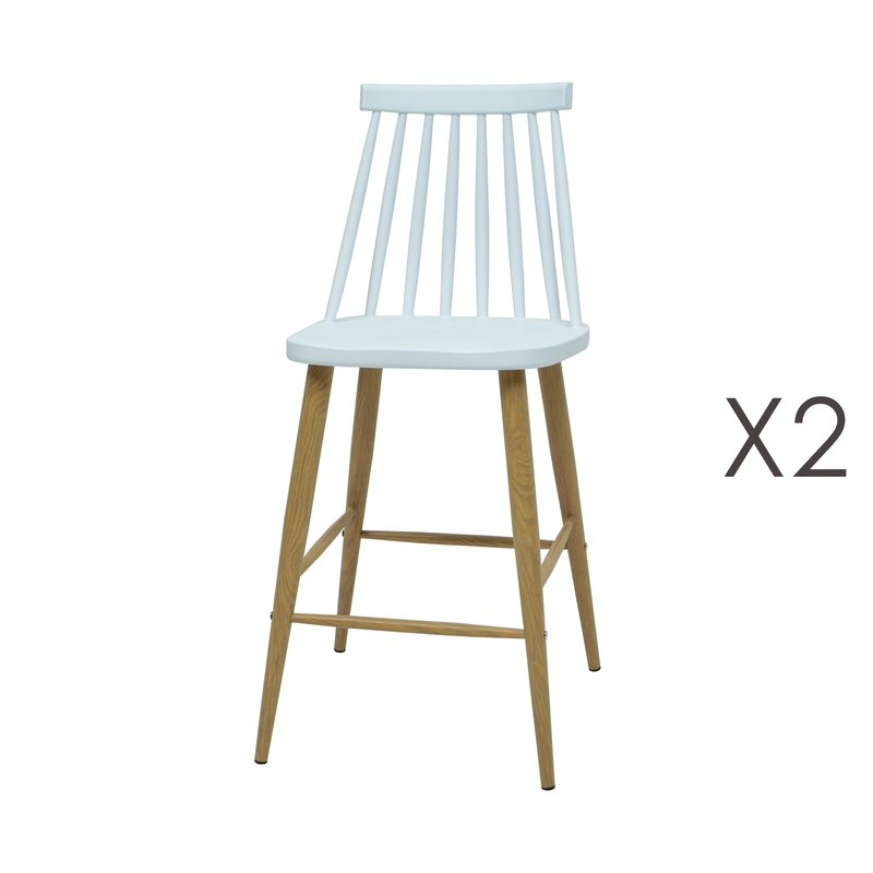 lot de 2 chaises de bar scandinave blanc maison et styles. Black Bedroom Furniture Sets. Home Design Ideas