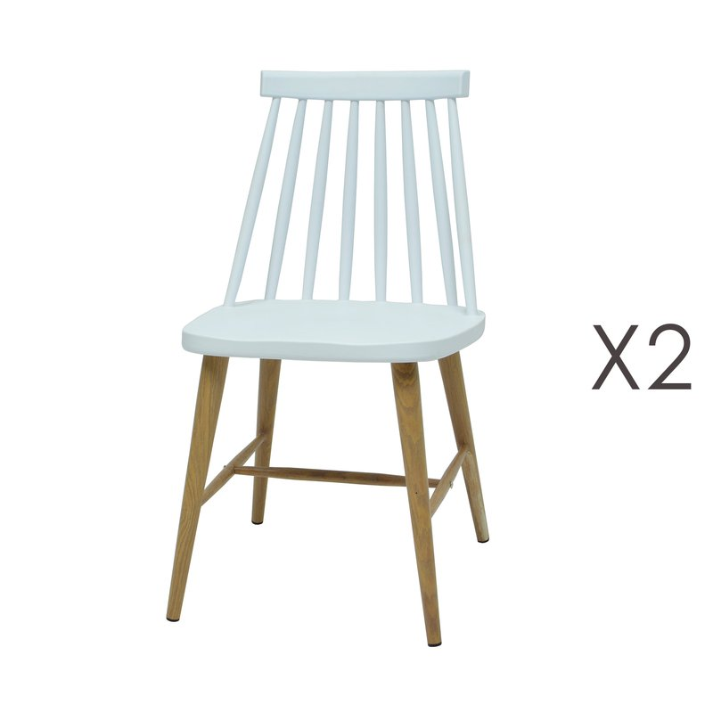 lot de 2 chaises scandinave blanc maison et styles. Black Bedroom Furniture Sets. Home Design Ideas