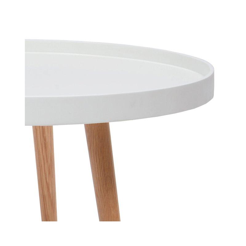 table basse ronde 60diam en bois blanc maison et styles. Black Bedroom Furniture Sets. Home Design Ideas