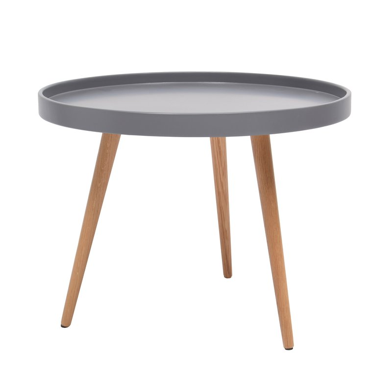 table basse ronde 60diam en bois gris maison et styles. Black Bedroom Furniture Sets. Home Design Ideas