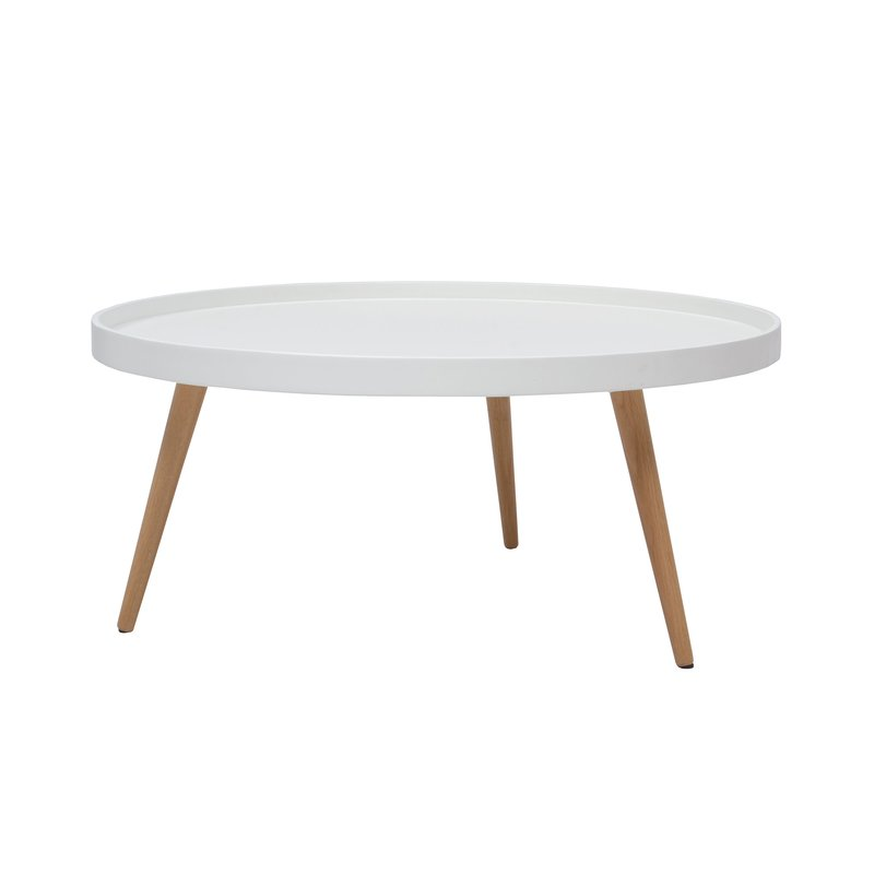 Table basse ronde 80diam en bois blanc maison et styles for Table ronde blanc