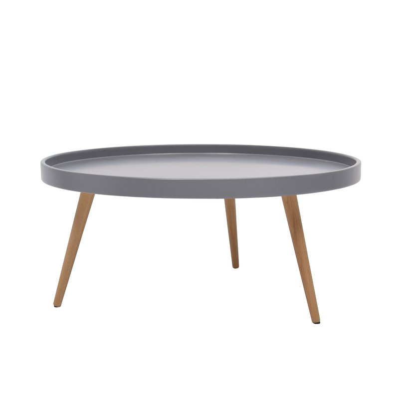 table basse ronde 80diam en bois gris maison et styles. Black Bedroom Furniture Sets. Home Design Ideas