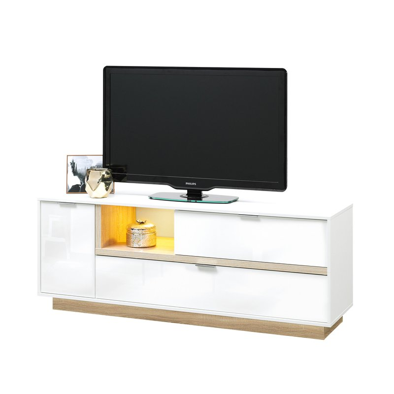 meuble tv 157x59x43cm blanc brillant et bois naturel maison et styles. Black Bedroom Furniture Sets. Home Design Ideas