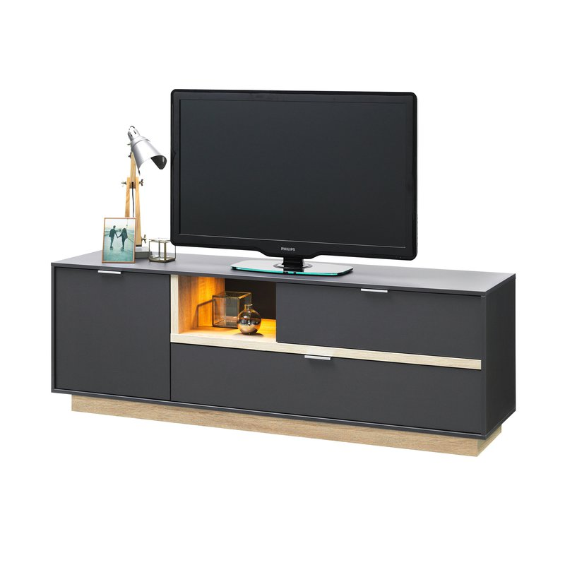 meuble tv 176x59x43cm anthracite et bois naturel maison et styles. Black Bedroom Furniture Sets. Home Design Ideas