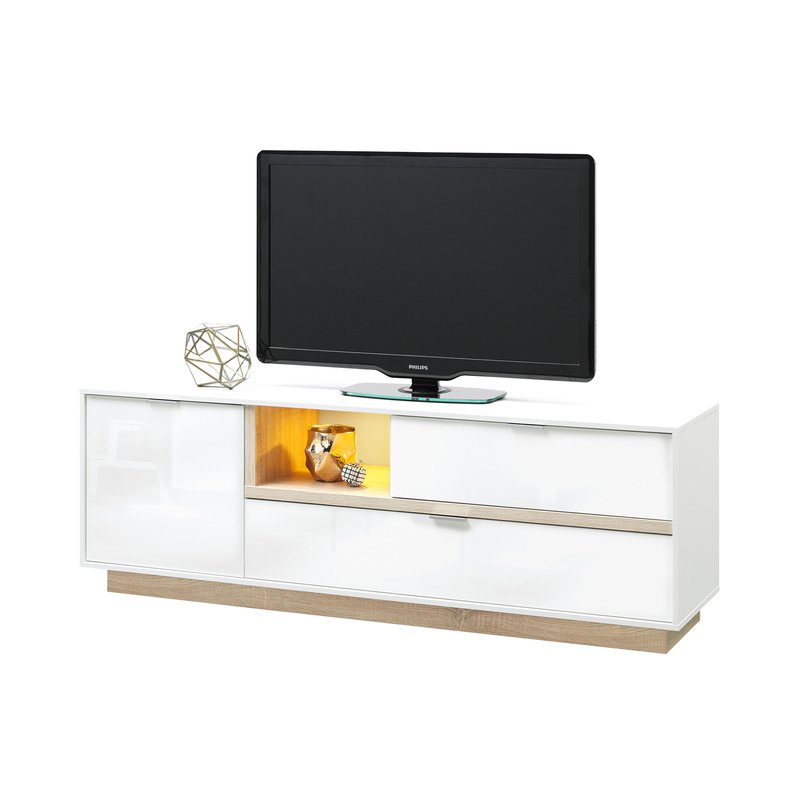 meuble tv 176x59x43cm blanc brillant et bois naturel maison et styles. Black Bedroom Furniture Sets. Home Design Ideas