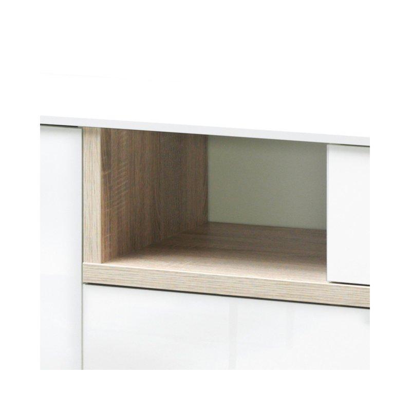 meuble tv 176x59x43cm blanc brillant et bois naturel maison et styles. Black Bedroom Furniture Sets. Home Design Ideas