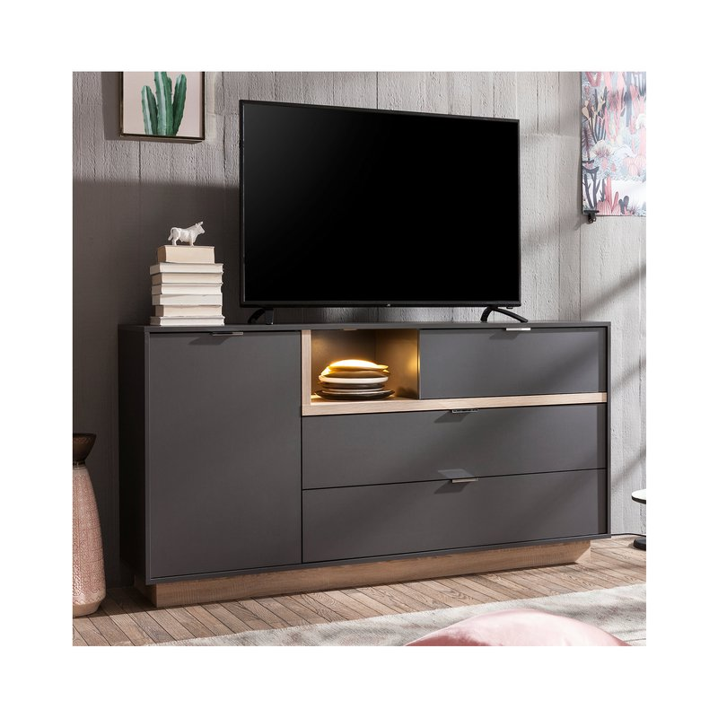 meuble tv 176x81x43cm anthracite et bois naturel maison et styles. Black Bedroom Furniture Sets. Home Design Ideas