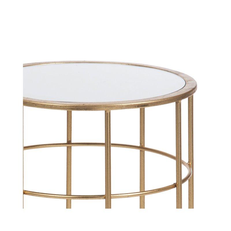 Table Gigogne Ronde En Verre Et Metal Or Maison Et Styles