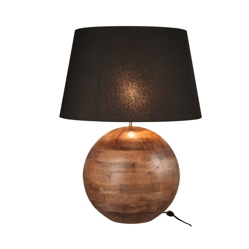 lampe de table socle boule h75cm en bois marron fonc maison et styles. Black Bedroom Furniture Sets. Home Design Ideas