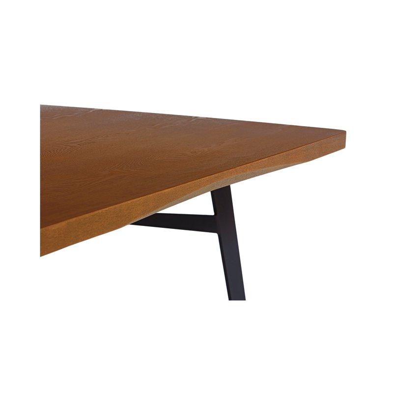 Table repas plateau bois finition ch ne fonc pieds m tal maison et styles - Table plateau bois pied metal ...