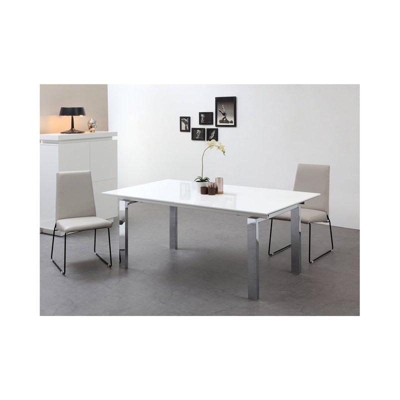 Blanc Chromé Cm Repas Table Allonge Extensible 180270 Avec Pied 9IeWEYH2Db
