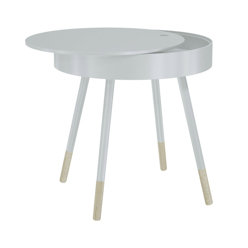 table ronde avec plateau amovible diam46cm blanc maison et styles. Black Bedroom Furniture Sets. Home Design Ideas