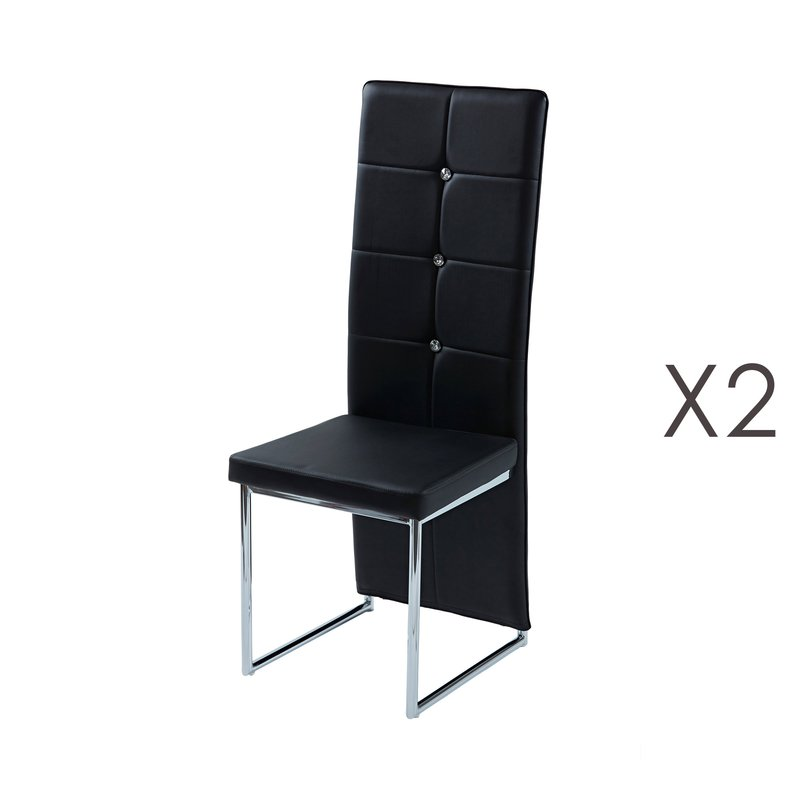 lot de 2 chaises capitonn es strass noir pando. Black Bedroom Furniture Sets. Home Design Ideas