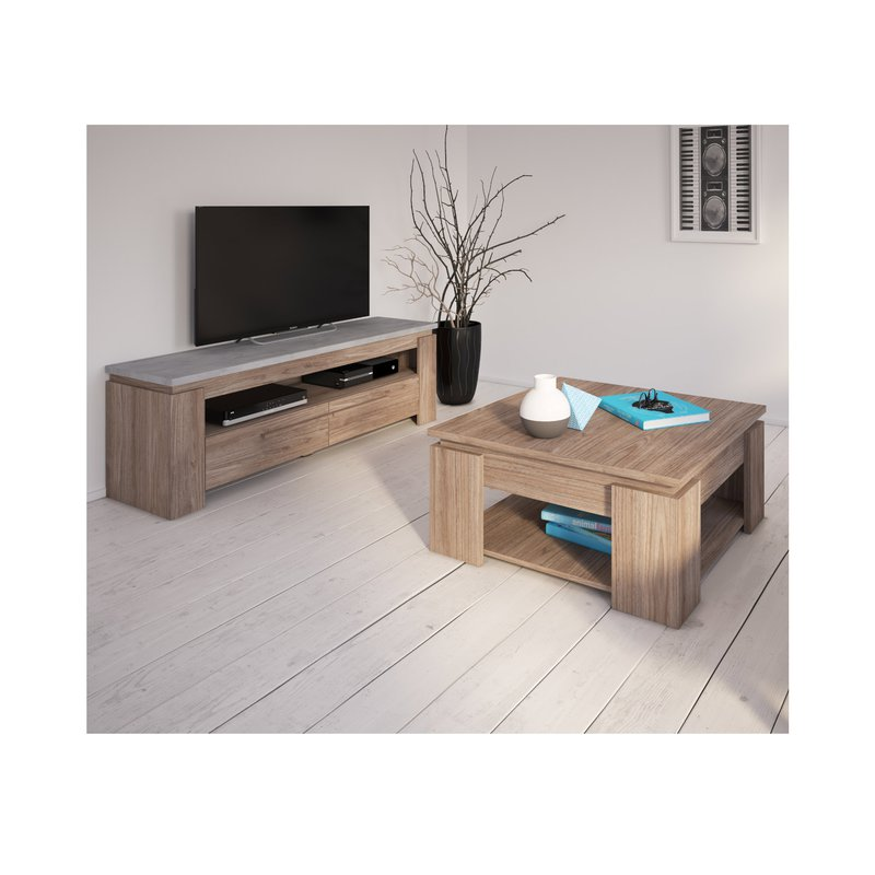 meuble tv 140cm en d cor b ton et noyer maison et styles. Black Bedroom Furniture Sets. Home Design Ideas