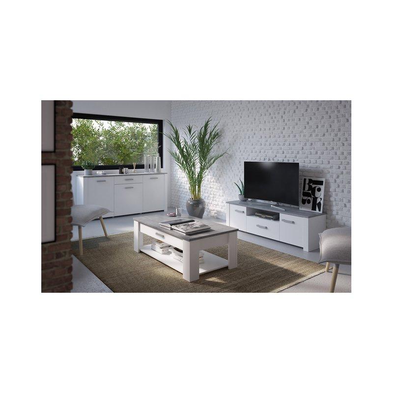meuble tv 2 portes 1 tiroir en d cor b ton et blanc maison et styles. Black Bedroom Furniture Sets. Home Design Ideas