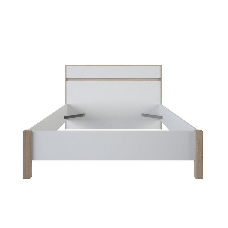 lit 140x190cm blanc et bois naturel maison et styles. Black Bedroom Furniture Sets. Home Design Ideas