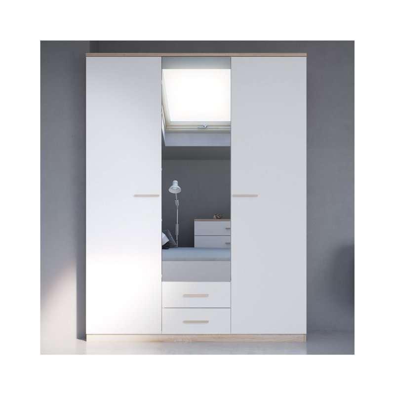 armoire 3 portes 2 tiroirs miroir blanc et bois naturel maison et styles. Black Bedroom Furniture Sets. Home Design Ideas