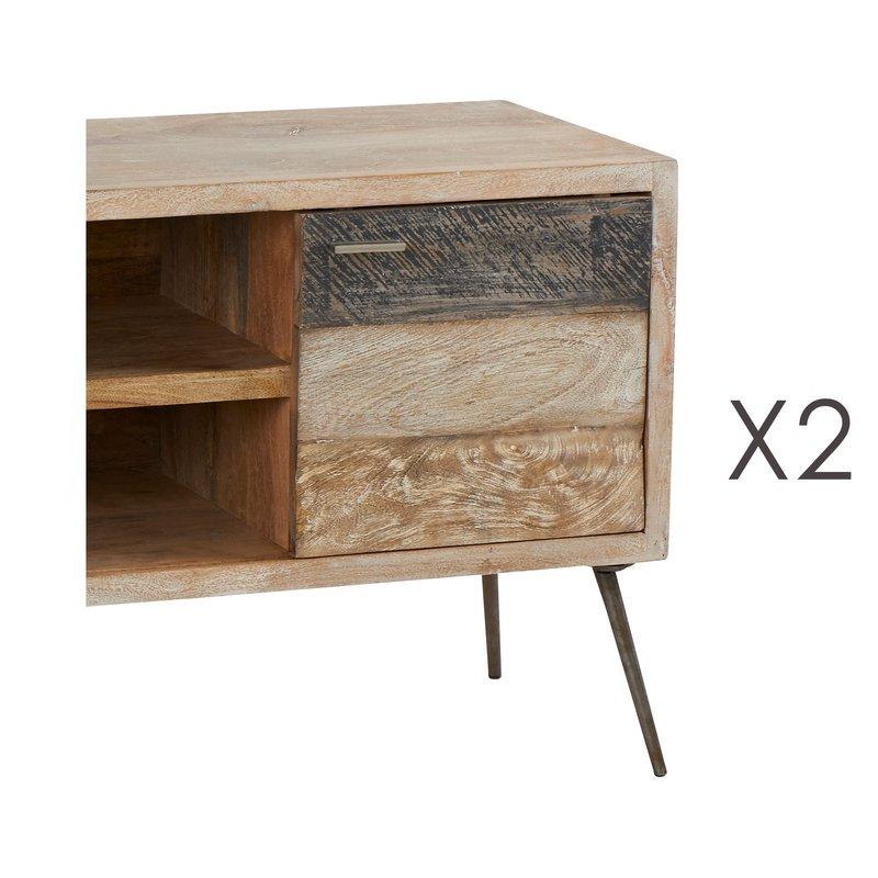 meuble tv la baule 130x40xh60cm en manguier et fer maison et styles. Black Bedroom Furniture Sets. Home Design Ideas