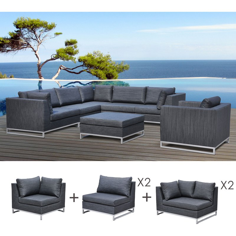 salon de jardin 8 10 personnes en aluminium anthracite maison et styles. Black Bedroom Furniture Sets. Home Design Ideas