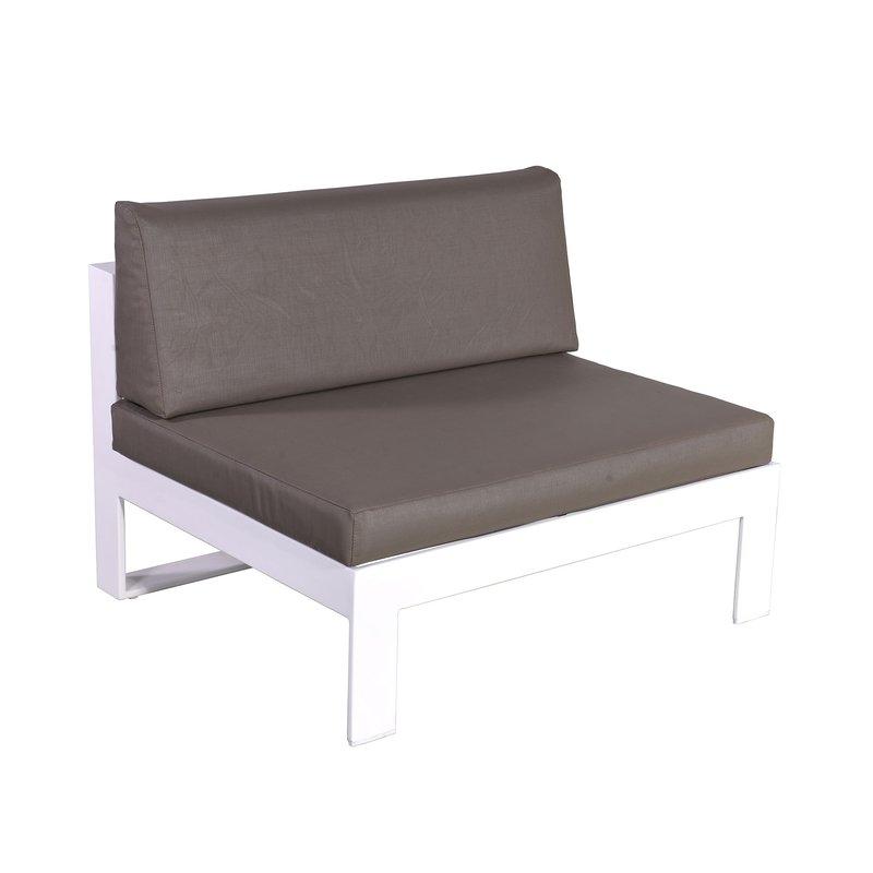 Salon de jardin 5 place en aluminium blanc et coussins gris | Maison ...