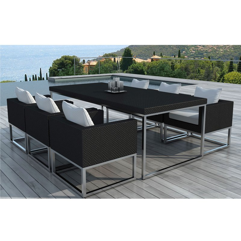 Table de jardin + 6 fauteuils en résine tréssée et coussins ...