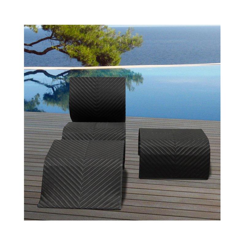 Bain de soleil + repose-pieds + table basse en résine tréssée noire ...