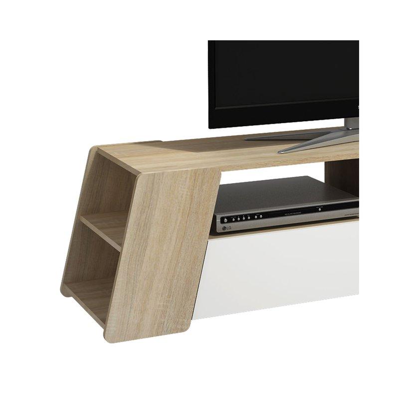 meuble tv 160 cm en bois naturel et blanc maison et styles. Black Bedroom Furniture Sets. Home Design Ideas