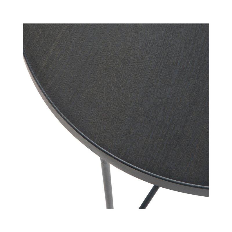 table gigogne ronde 50 5 cm en bois et m tal noir maison et styles. Black Bedroom Furniture Sets. Home Design Ideas