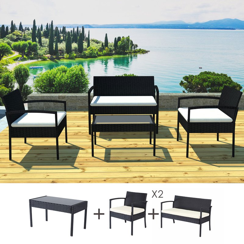 salon de jardin 4 personnes en r sine tr ss e noir et coussins crus maison et styles. Black Bedroom Furniture Sets. Home Design Ideas