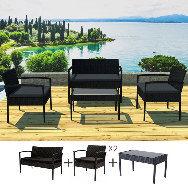 salon de jardin 4 personnes en r sine tr ss e noir et coussins noirs maison et styles. Black Bedroom Furniture Sets. Home Design Ideas