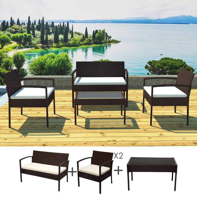 salon de jardin 4 personnes en r sine tr ss e marron coussins crus maison et styles. Black Bedroom Furniture Sets. Home Design Ideas