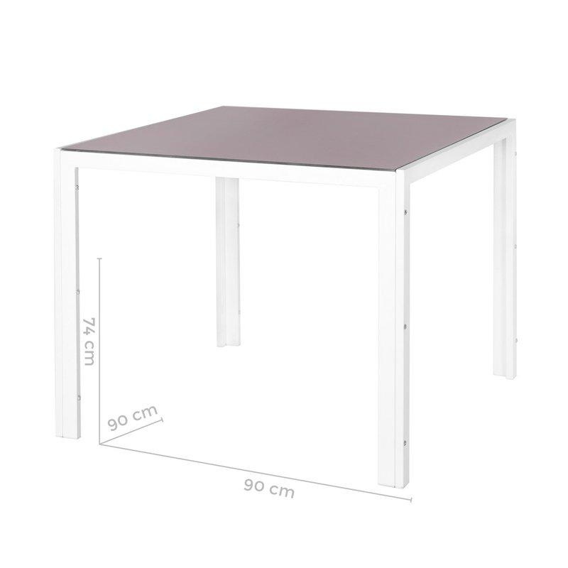 Table de jardin 90 cm en verre trempé taupe et acier blanc   Maison ...