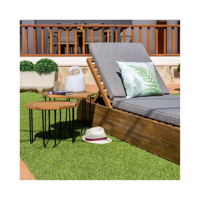 Table de jardin hexagonal 50x50x40 cm en bois et fer | Maison et Styles