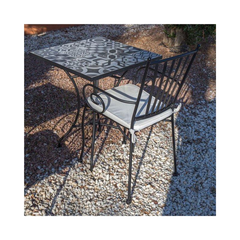 Lot de 2 chaises de jardin empilables 40x53x90 cm en fer forgé noir ...