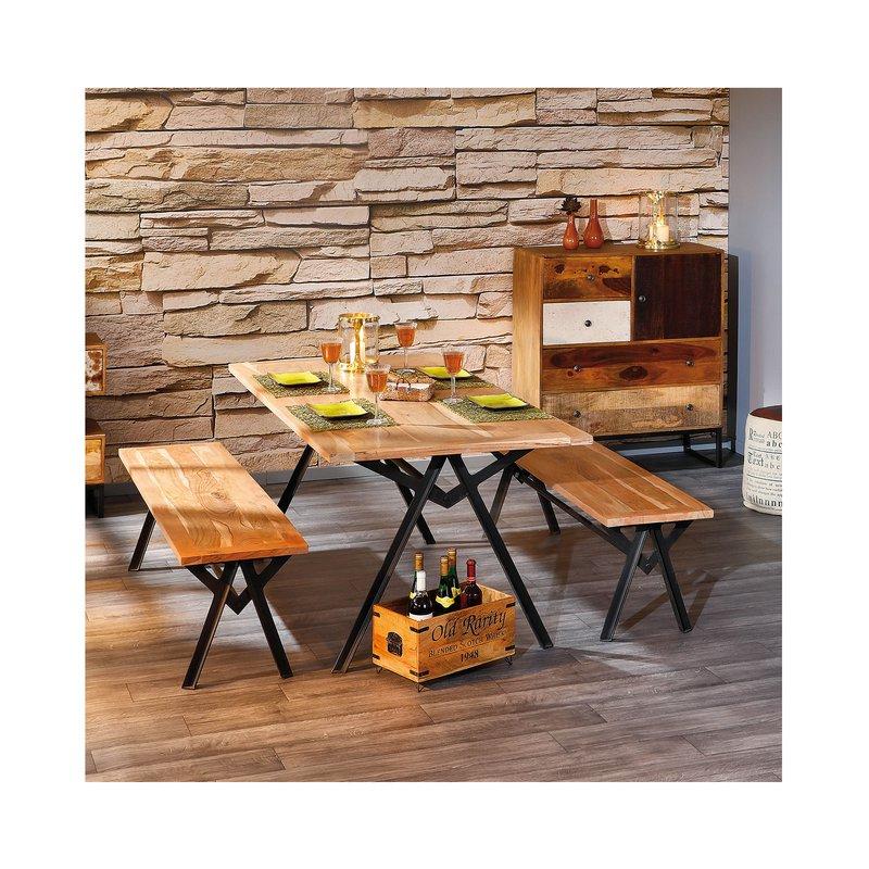 banc pour table manger en bois massif naturel maison. Black Bedroom Furniture Sets. Home Design Ideas