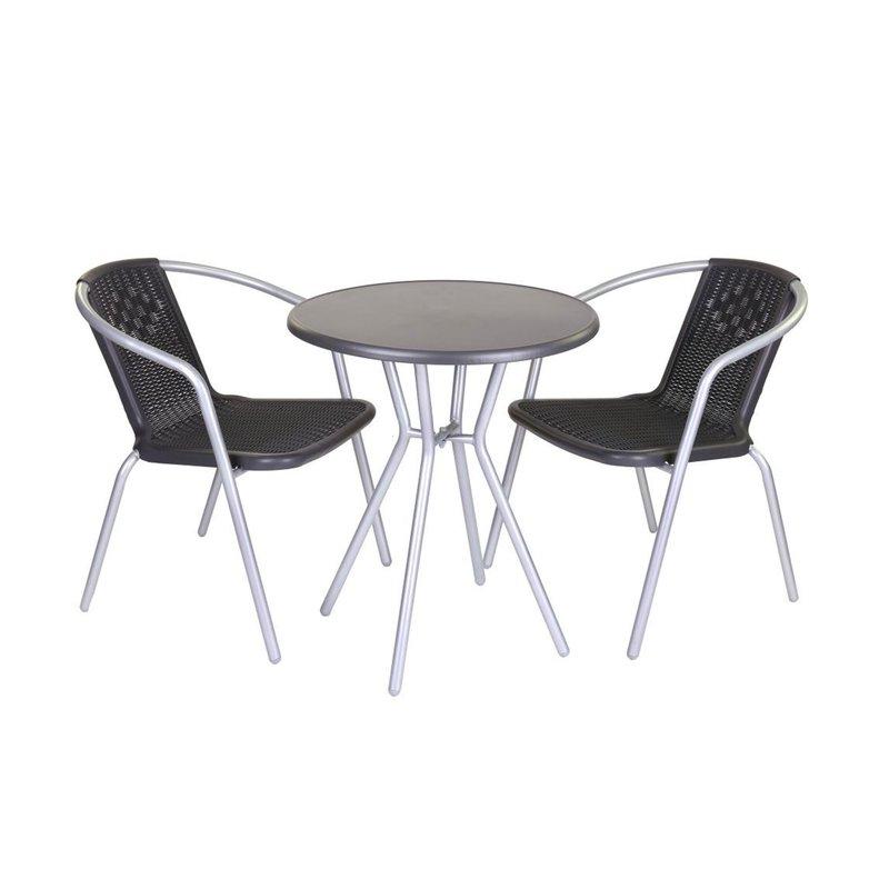 Lot de 4 chaises de jardin en plastique noir et acier gris | Maison ...