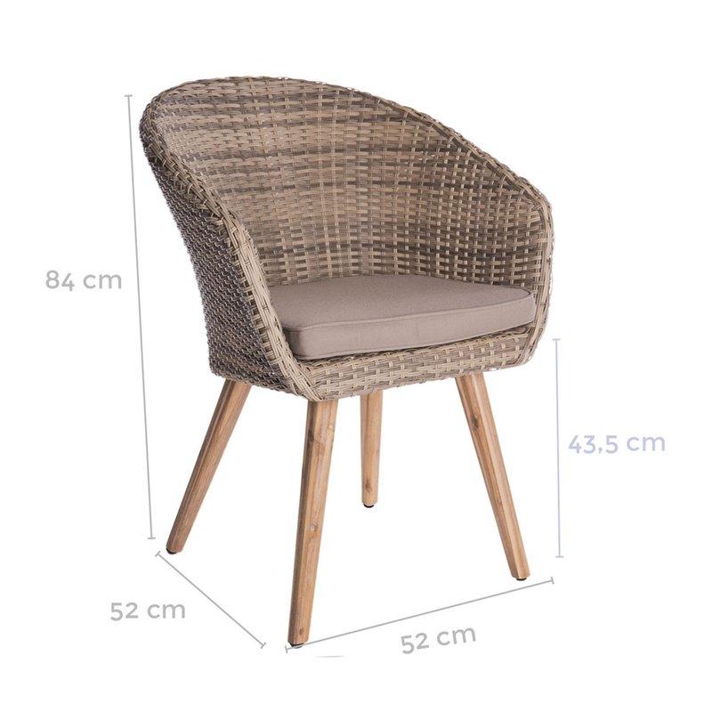 ... Meuble de jardin - Lot de 4 chaises de jardin en rotin naturel photo 3 70f50ddc8b89