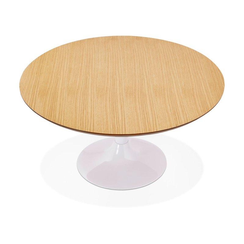Table basse ronde 90 cm en bois naturel et m tal blanc Table basse ronde bois et metal