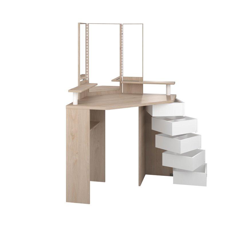 coiffeuse d 39 angle avec leds int gr es 5 tiroirs naturel et blanc maison et styles. Black Bedroom Furniture Sets. Home Design Ideas