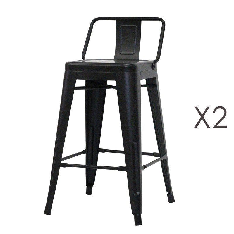 Tabouret de bar - Lot de 2 tabourets hauts en métal noir - ARTY photo 1