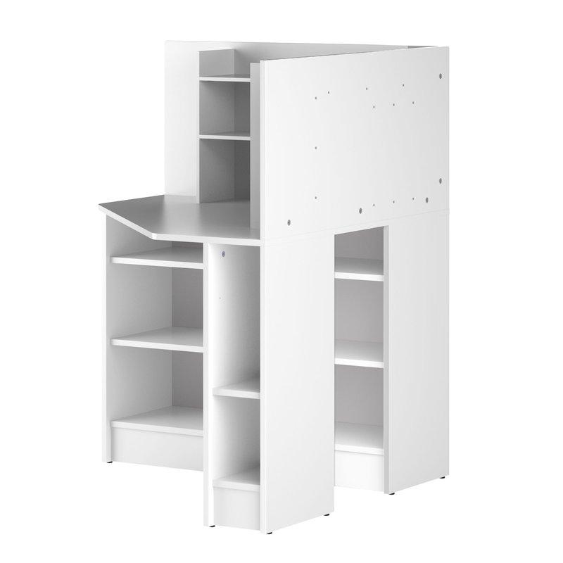 bureau d 39 angle avec rangement 94x94x119 cm blanc titouan. Black Bedroom Furniture Sets. Home Design Ideas