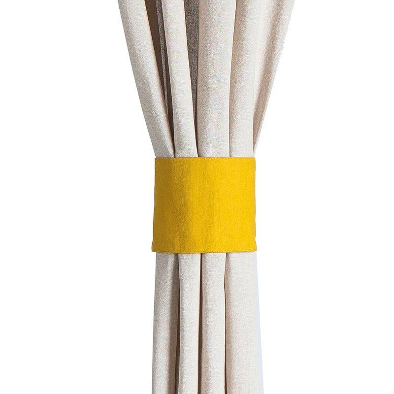 rideau oeillets 135x260 cm en coton jaune et gris. Black Bedroom Furniture Sets. Home Design Ideas
