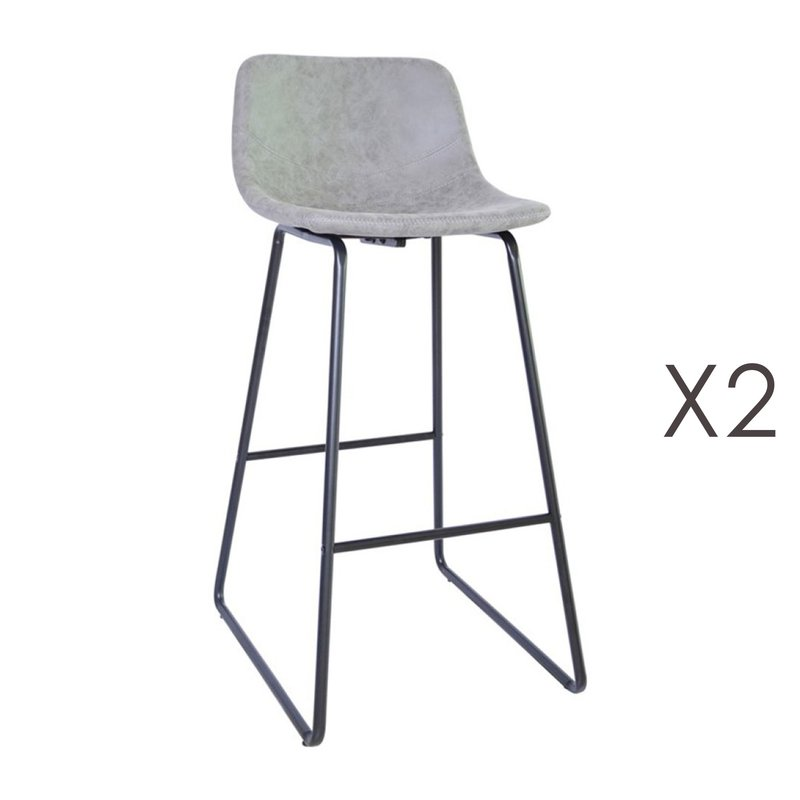 Tabouret de bar - Lot de 2 tabourets de bar 55,5x45,6x99 cm en PU gris - PALMY photo 1