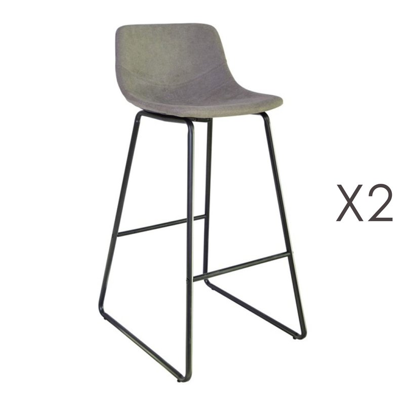 Tabouret de bar - Lot de 2 tabourets de bar 55,5x45,6x99 cm en PU taupe - PALMY photo 1
