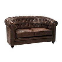 Canapé 2P chesterfield similicuir marron