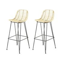 Lot de 2 tabourets de bar en kubu naturel  - SUCCESS